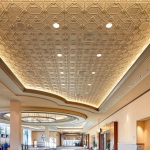 Deco 2 Square Acoustic Ceiling Tile, Custom Finish, P-6505, Oyster Pearl Product #10100, Manufacturer Crescent Bronze, Above View, MGM Conference Center, GRG, GFRG
