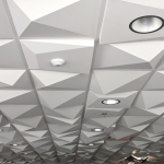 Pyramid 4 Ceiling Tile, TL-0081, Pyramid Utility Ceiling Tile, TL-0082, Plaster, Artisan, Ornamental, Contemporary, Geometric, Purdue, Spensa, Lafayette, IN, Installation, CSO Architects, Standard White Paint, Office