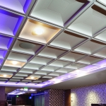 Vikings Stadium, HKS, Sports facility, corridor, Contemporary Coffer Ceiling Tile, TL-0013, Custom Paint Color to Match Benjamin Moore White Dove Eggshell, VALHALLA SUITES, Mitch Stier