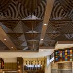 Grooved Quarter Pyramid Ceiling Tile, TL-0097, Plaster, Glass Fiber, GRFG, Artisan, Ornamental, Custom Paint, Faux Finish, Woodgrain, Contemporary, Geometric, Palms Casino, Buffet, Friedmutter Group, Las Vegas, NV